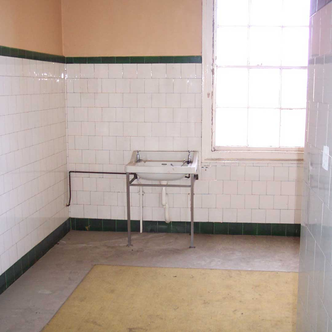 original washroom area in limehurst house before the restoration project